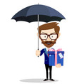 young business man with umbrella and gift box vector image