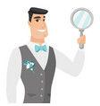 young caucasian groom holding hand mirror vector image vector image