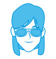 young woman with sunglasses vector image