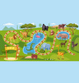 zoo board game with numbers for children lion vector image vector image