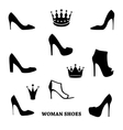 Set of woman shoes silhouettes with crowns vector image