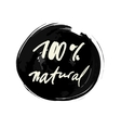 100 percent natural label vector image