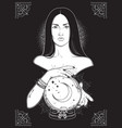 beautiful brunette witch with magic crystal ball vector image