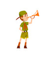 boy scout character in green uniform playing vector image vector image