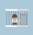 Businessman trapped in a cage vector image