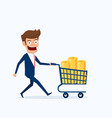 businessman with shopping cart full of money vector image vector image