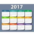 Calendar 2017 year design template in vector image vector image