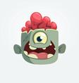 cartoon one eyey zombie head smiling vector image