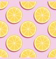 citrus seamless pattern lemon slices on pink vector image