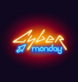 colorful neon cyber monday sign vector image vector image