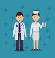couple doctors uniform clothes work occupation vector image