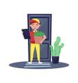 delivery boy standing near door holding clipboard vector image