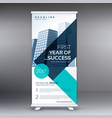 elegant blue geometric standee roll up business vector image vector image