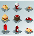 fast food color gradient isometric icons vector image