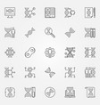 genetics outline icons set genetic vector image
