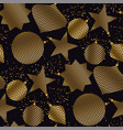 gold and black christmas baubles seamless pattern vector image