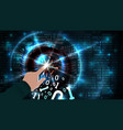 hacker hand touches binary code and hacks vector image vector image