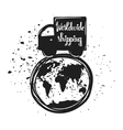 Hand drawn typography poster world shipping vector image vector image
