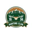 Hunting club round badge with deer antlers vector image