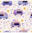 ice cream trucks summer bright seamless pattern vector image vector image