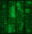 matrix coded bitstreams green background vector image vector image