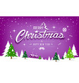 merry christmas tree and snow design on purple vector image vector image