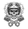 moto racer skull in smoke cloud vector image vector image
