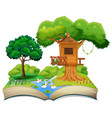 nature treehouse on open book vector image