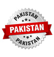 Pakistan round silver badge with red ribbon vector image vector image