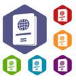passport icons set vector image vector image