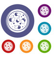 pizza with greens icons set vector image vector image