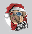 pug puppy dog santa claus christmas cute face artw vector image vector image