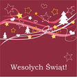 Red christmas card in polish Wesolych Swiat vector image vector image
