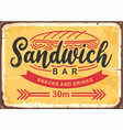 sandwich bar poster design in retro style vector image vector image
