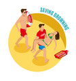 saving drowning round design concept vector image vector image