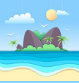 sea beach cut out paper art style design vector image vector image