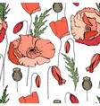 seamless pattern with poppies endless texture fo vector image