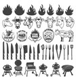 set bbq and grill labels and design elements vector image vector image