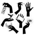 set black silhouettes female hands vector image