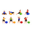 set of women doing fitness exercise isolated vector image vector image