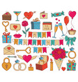 set valentines day doodle icon set vector image vector image