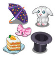 set with bunny carrot cake hat and other items vector image vector image