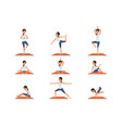 set with young girl in different poses yoga vector image vector image