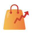 Shopping bag with arrow up infographic degradient
