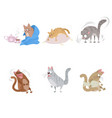 six funny cats vector image