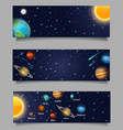 solar system web banner template set vector image vector image