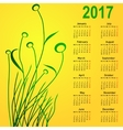 Stylish calendar with flowers for 2017 Week vector image