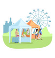 summer fair flat food stalls tents with seller vector image vector image