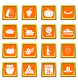 thanksgiving icons set orange vector image vector image