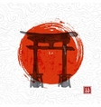 Torii gates and red rising sun vector image vector image
